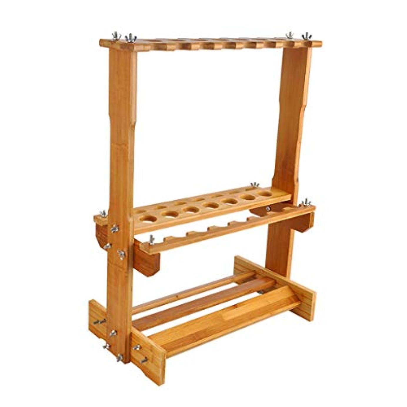 製造ハッピー立場釣竿ホルダー収納ラック 釣竿表示ラック釣竿ラック釣竿表示ラック木 (Color : Wood color, Size : 46 * 27 * 62cm)