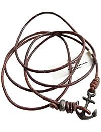 WAKAMI(ワカミ) PP-B028 SILVER Leather Anchor Bracelet アンカーブレス [並行輸入品]