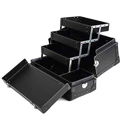 メイクボックス コスメボックス LLサイズ プロ用 [メイク収納 ネイリスト バッグ 大容量] 日本製 【 レッド/ブラック 】 グラスマーブル正規品