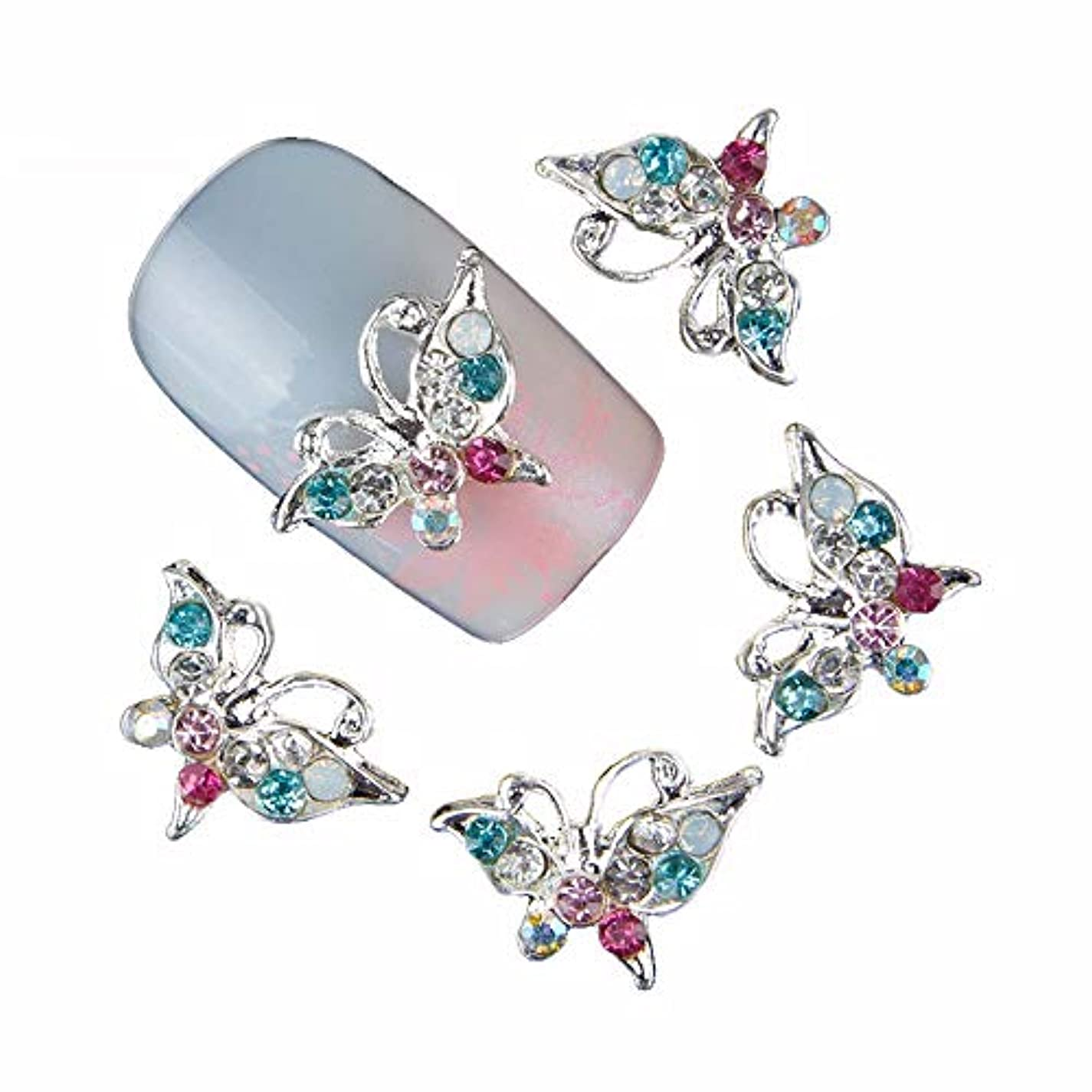 生物学後継可塑性10個入り/ロットグリッターラインストーンネイル蝶のデザインネイルズアートの装飾合金3Dストラススタッド付属品