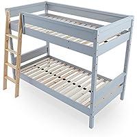 LOWYA (ロウヤ) 2段ベッド バンクベッド ベッドフレーム すのこ 木製ベッド はしご 子供部屋 ハイタイプ シングルサイズ グレー/ナチュラル
