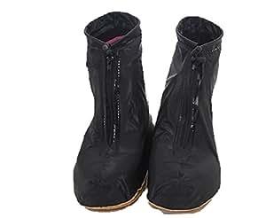 Petitpas 雨用 シューズ カバー ブラック クリア 2色 / S M L XL 4サイズ くまもん ティシュ 付き (5. ブラックS)