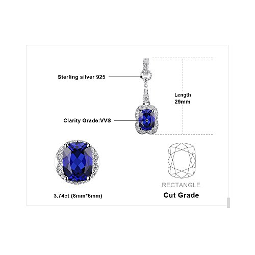 JewelryPalace エレガント 3.7ct 9月 誕生石 人工 ブルー サファイア イヤリング ピアス 揺れる スターリング シルバー 925