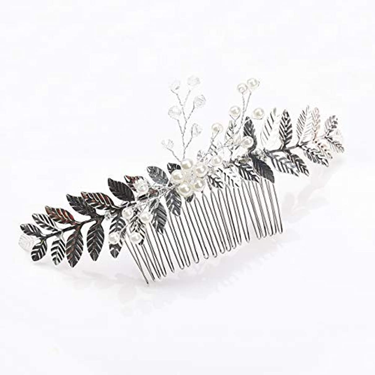 ナチュラポップ検出可能Kercisbeauty Rustic Wedding Oliver Branch Pearl Flower and Crystal Hair Comb for Bride Bridesmaid Prom Headpiece...