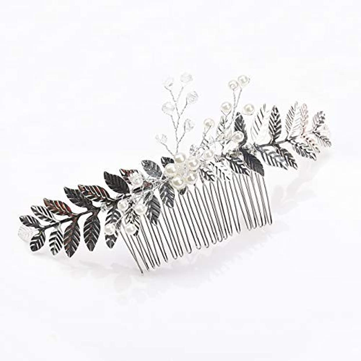構築する厚さ自治Kercisbeauty Rustic Wedding Oliver Branch Pearl Flower and Crystal Hair Comb for Bride Bridesmaid Prom Headpiece...