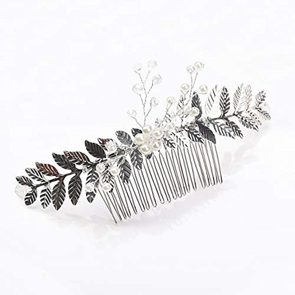 用心田舎者忠誠Kercisbeauty Rustic Wedding Oliver Branch Pearl Flower and Crystal Hair Comb for Bride Bridesmaid Prom Headpiece...