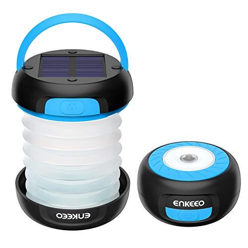 enkeeo LEDランタン 懐中電灯 ソーラー USB充電式 モバイルバッテリー 3明るさモード 高輝度 折り畳み式 軽量 コンパクト アウトドア キャンプ 防災グッズなどに SB-6071【メーカー保証】(ブルー)