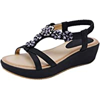 Dreneco Round Peep Toe Flower Bohemian Sandals for Women, Summer Beach Post Sandals Wedge Shoes for Ladies
