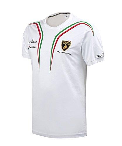 【 Lamborghini Squadra Corse 】 ランボルギーニ スクアドラ コルセ オフィシャル Tシャツ (ホワイト, M身幅50cm 着丈69cm)