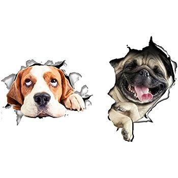 かわいい 飛び出す ウォールステッカー 猫とか 犬とか (犬セット)