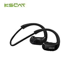 KSCAT Bluetooth4.1 ヘッドセット ステレオ 高音質 ワイヤレス イヤホン CVCノイズキャンセル メモリチタンネックバンド 超軽量 スポーツ仕様 ヘッドホン (ブラック)