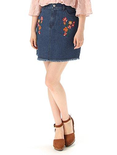 (ハニーズ コルザ)Honeys COLZA 刺繍入り台形スカート ライトインディゴ L