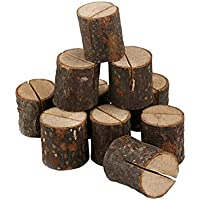 BESPORTBLE 50 Pcs Compact Wooden Pile Business Card Holder Lightweight Card Clamp for Decorations Men and Women Wedding Party
