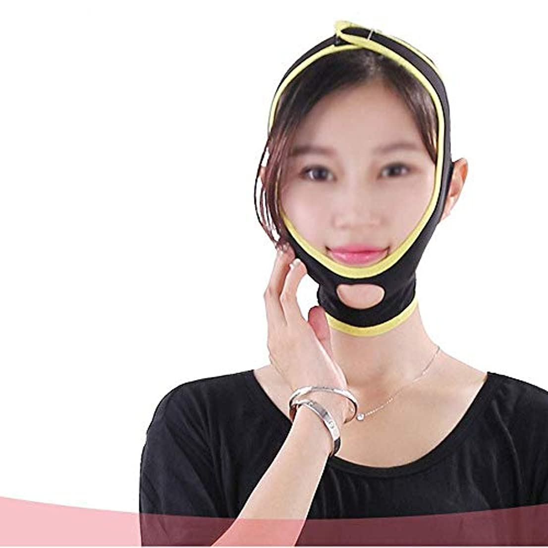 想定道徳の豪華な薄い顔の包帯 睡眠小さなVフェイスマスクリフト引き締め肌のアーティファクトを減らす二重あご顔の減量包帯(サイズ:M)