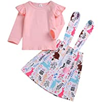 YOUNGER TREE Toddler Baby Girl Easter Clothes Skirt Set Ruffle Sleeves Top+ Rabbit Print Floral Suspender Skirt Tutu Dress Outfits