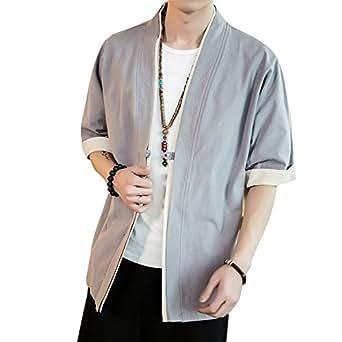 メンズ 和式パーカー 夏 五分袖 カーディガン コート 無地 和風 羽織 一つボタン シンプル トップス ゆったり カジュアル おしゃれ 大きいサイズ 個性 灰 2XL