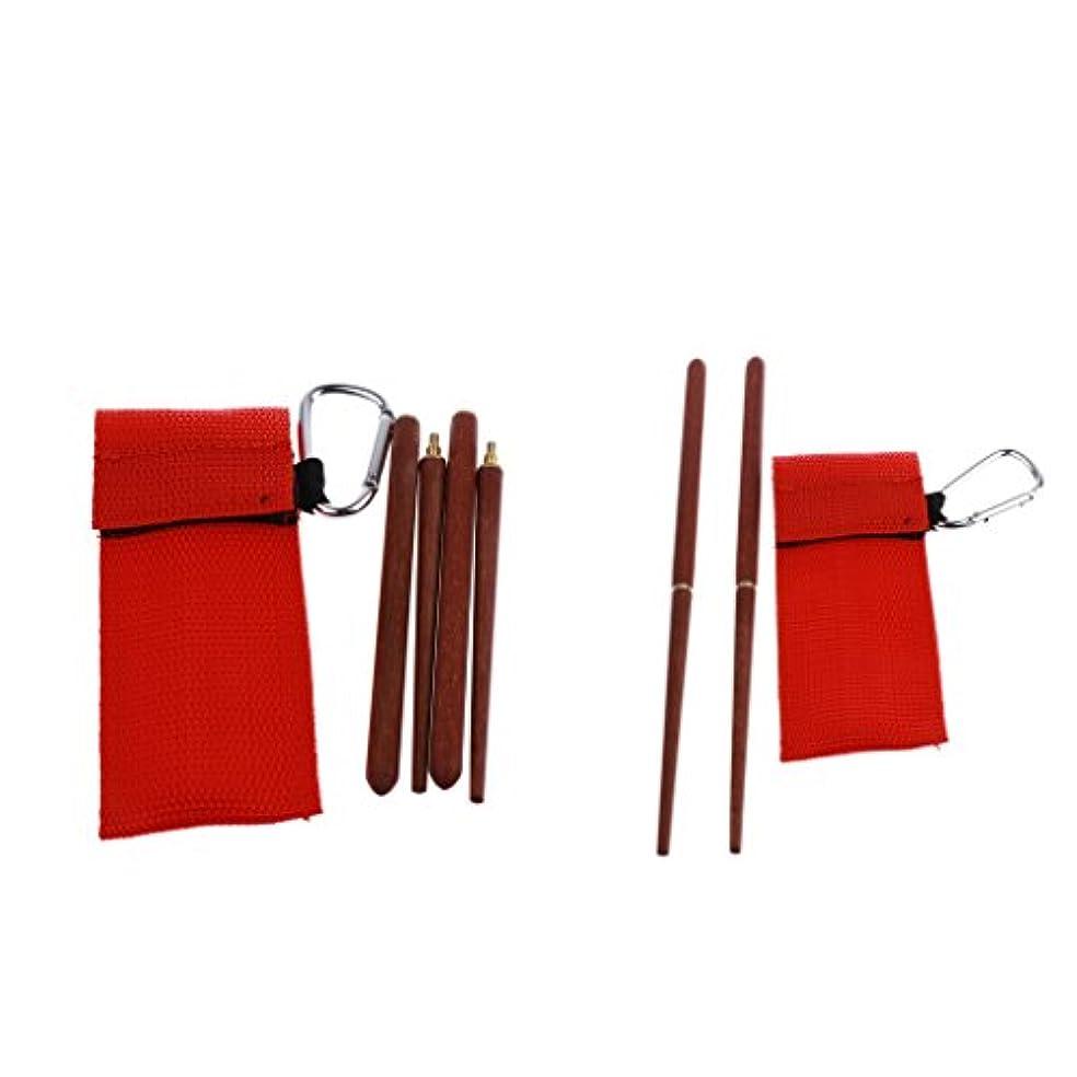 失業者身元産地Perfk 2個 折り畳み式箸 カトラリーセット ローズウッド 箸 バッグ付き