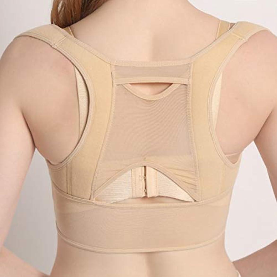 シニス好奇心盛韓国通気性のある女性バック姿勢矯正コルセット整形外科用アッパーバックショルダー脊椎姿勢矯正腰椎サポート - ベージュホワイト