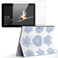 Surface go 専用スキンシール ガラスフィルム セット サーフェス go カバー ケース フィルム ステッカー アクセサリー 保護 雪 結晶 013837