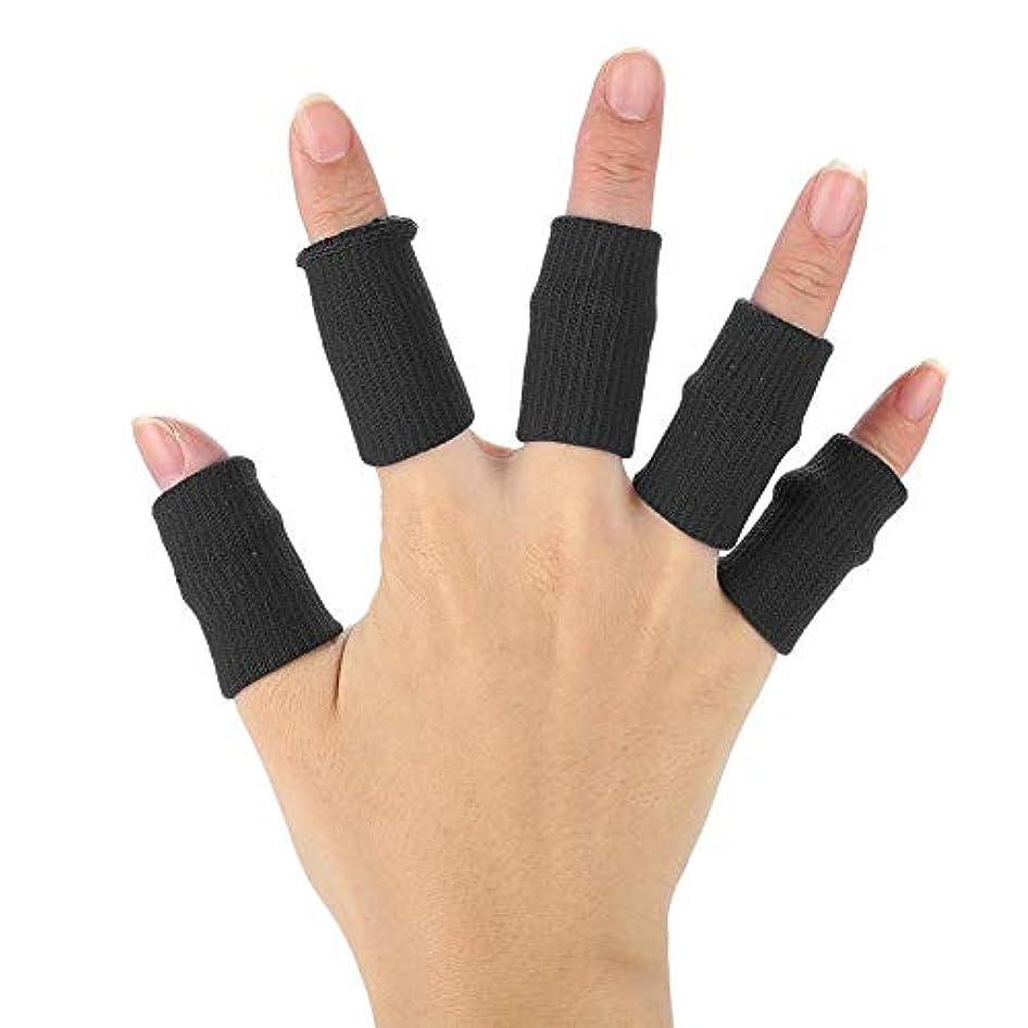 Semme指スリーブサポート10個/セット、指プロテクターブレーススポーツエイド関節炎バンドラップ、バスケットボール、テニス、野球、クリケット、バレーボール、バドミントン、ボート遊び(黒)