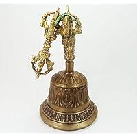 アンティークDesigned真鍮ベルシンボリックRitual Buddhist Art Indianホーム装飾 L- ( 6 inch ) - [310 Grams ] ゴールド
