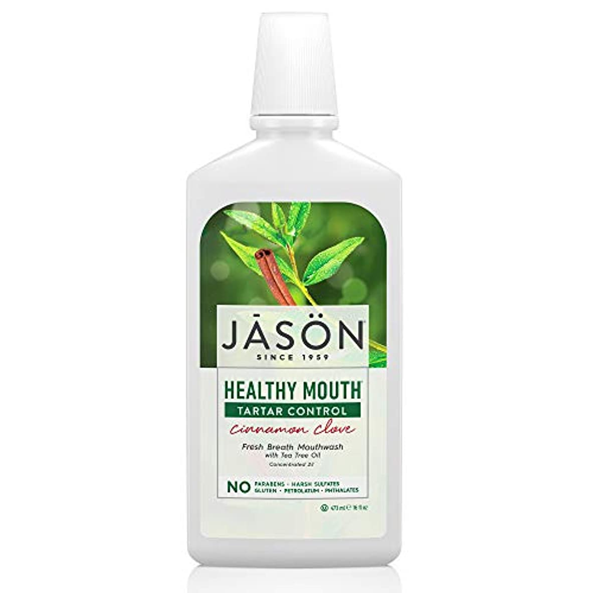 適応的角度満員Jason Natural, Healthy Mouth, Tartar Control, Cinnamon Clove, 16 fl oz (473 ml)
