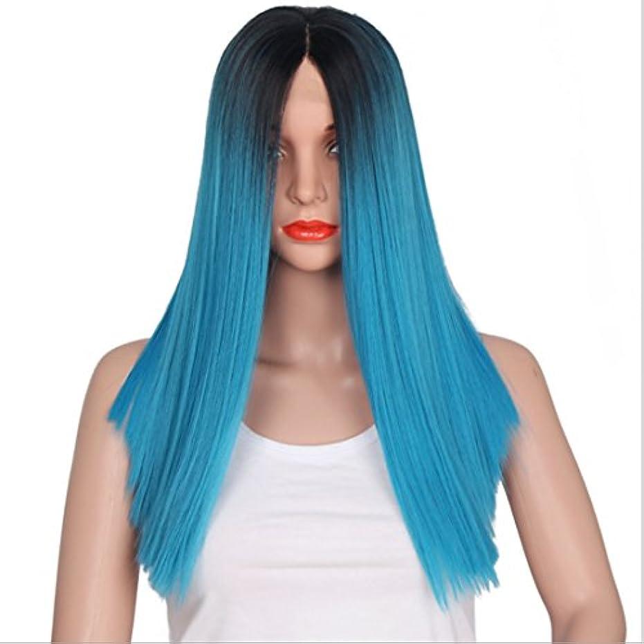 ヘルパー操縦するインキュバスJIANFU 女性用 レース髪用 合成 コスプレ 耐熱 長い ストレート ウィッグ 付き 16インチ フルハンド ウィービング (色 : Black gradient blue)