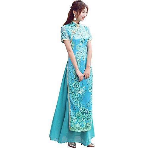 (福丸) チャイナドレス ロング アオザイ ベトナム スパコール 刺繍 チャイナ服 ワンピース シフォン 結婚式 セクシー 4l (2XL, スカイブルー)