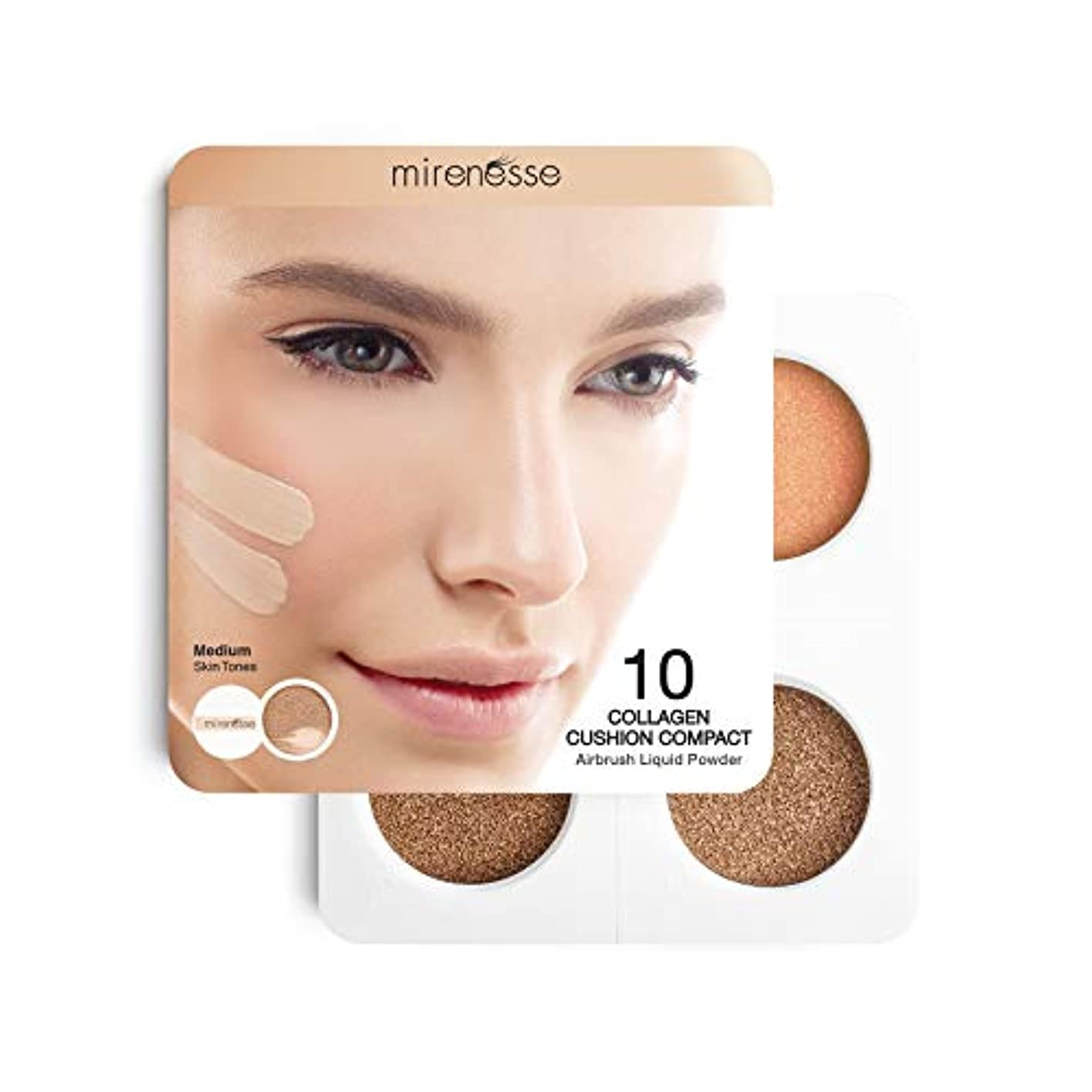 変わる法律偽造Mirenesse Cosmetics 4Pce 10 Collagen Cushion Foundation Sampler - Medium/Dark