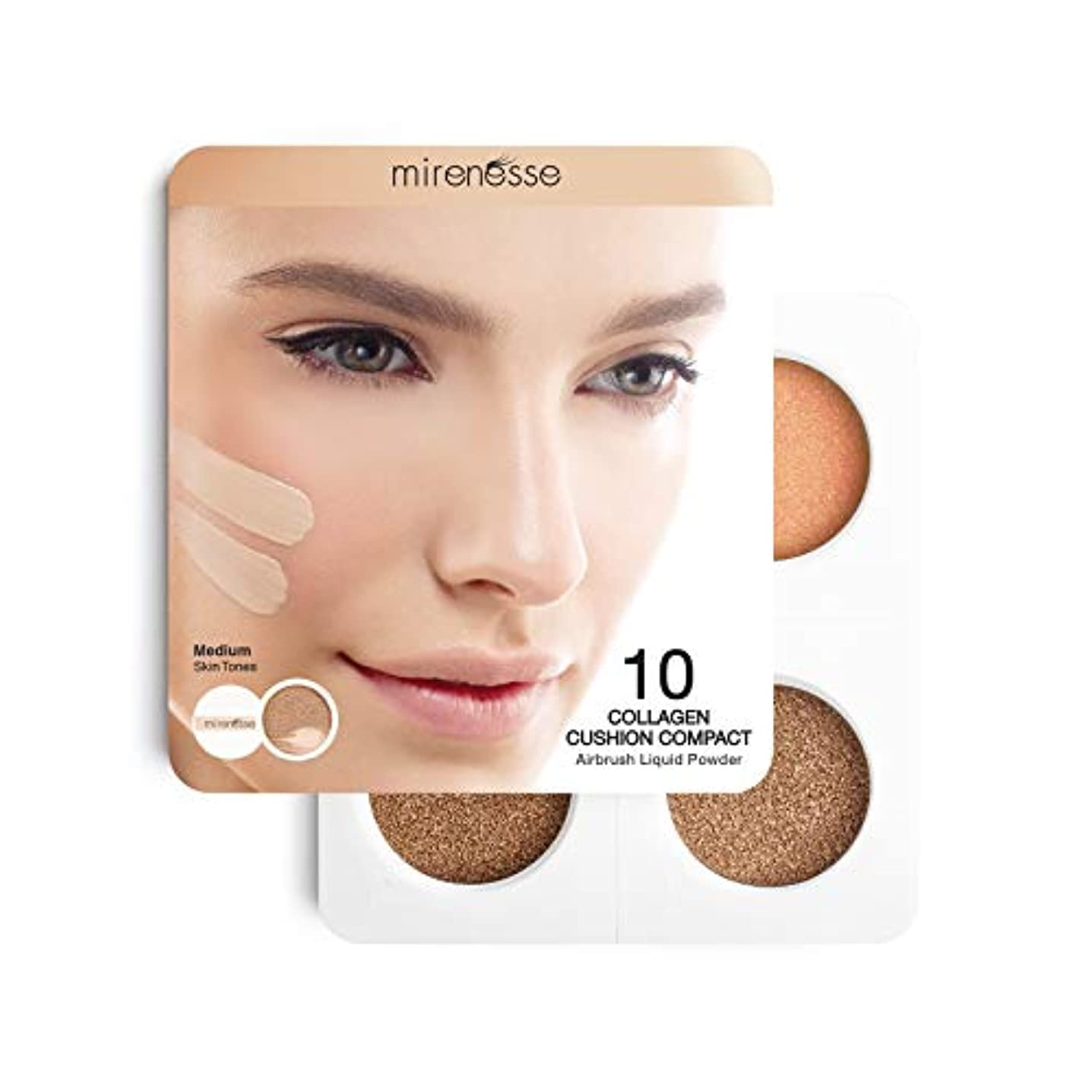コカイン間欠降伏Mirenesse Cosmetics 4Pce 10 Collagen Cushion Foundation Sampler - Medium/Dark