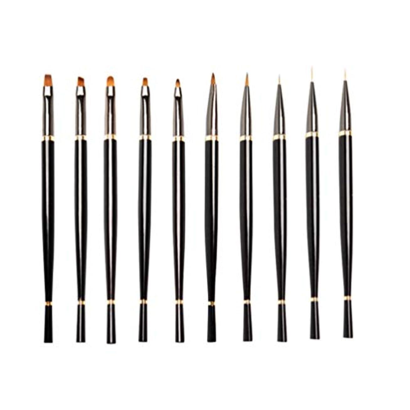 機械士気不純Lurrose 10ピースネイルアートペン実用的な耐久性のあるプロロングハンドル軽量ネイルアートペンネイルペイントツール用女性女の子レディース