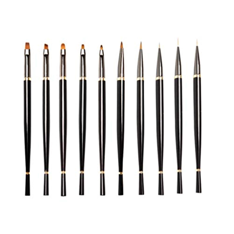 ポータブル一定できないLurrose 10ピースネイルアートペン実用的な耐久性のあるプロロングハンドル軽量ネイルアートペンネイルペイントツール用女性女の子レディース