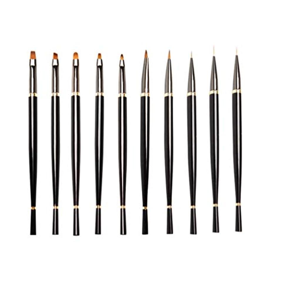 第バラバラにする陰気Lurrose 10ピースネイルアートペン実用的な耐久性のあるプロロングハンドル軽量ネイルアートペンネイルペイントツール用女性女の子レディース