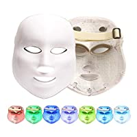 Sooger 7色LED美顔マスク 家庭用LED美顔器 コラーゲンマシンマスク 光エステ LEDライトフォトンフェイシャルマスク 7色ライトフェイストリートメントネックスキン引き締めアンチシワホワイトニング美容機用女性