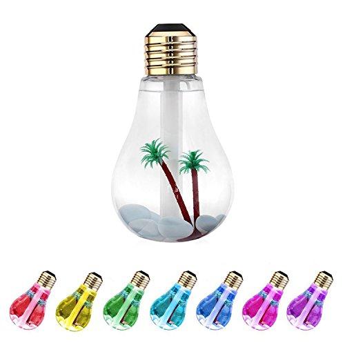 加湿器 卓上 ペットボトル 超音波式 LED搭載7色変換 電球型 USB 大容量 400ml