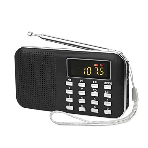 USB充電式 AM/FM 多機能 超薄型ミニポケットラジオ ...