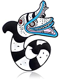 J Meng 漫画蛇ブローチ ラペルピン エナメル キュート ホワイト ブラック