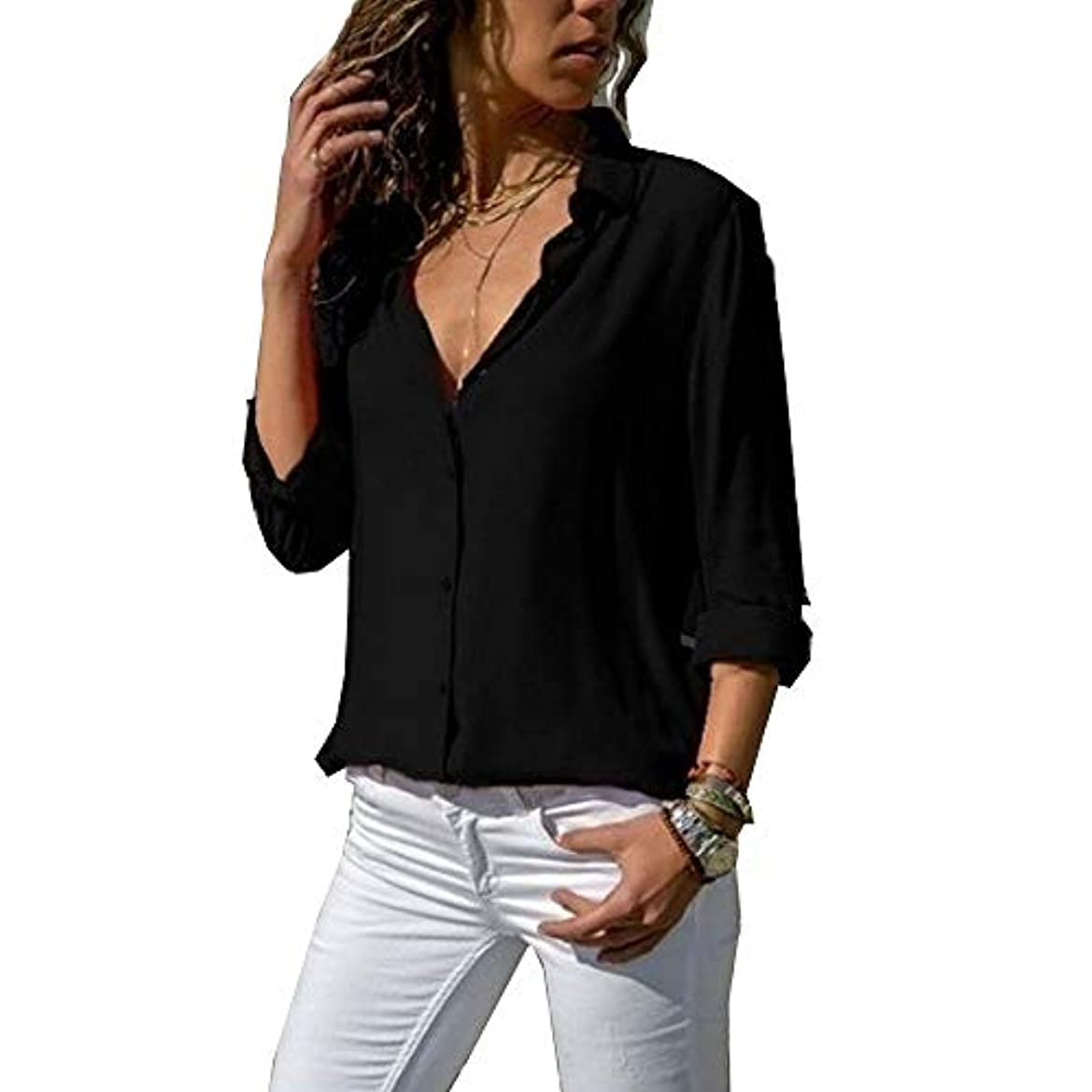 書き込みプレート連想MIFAN ルーズシャツ、トップス&Tシャツ、プラスサイズ、トップス&ブラウス、シフォンブラウス、女性トップス、シフォンシャツ