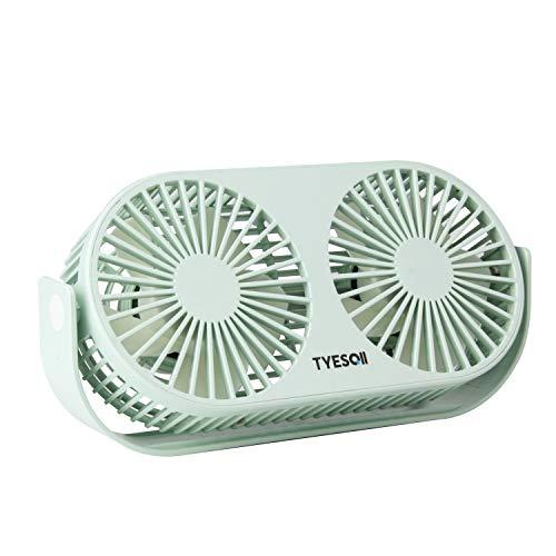 TYESQII USB扇風機 卓上扇風機 ミニ扇風機 小型 2倍大風量 3段階調整 角度調整 軽量 家庭 オフィス用 電池なし(A1)