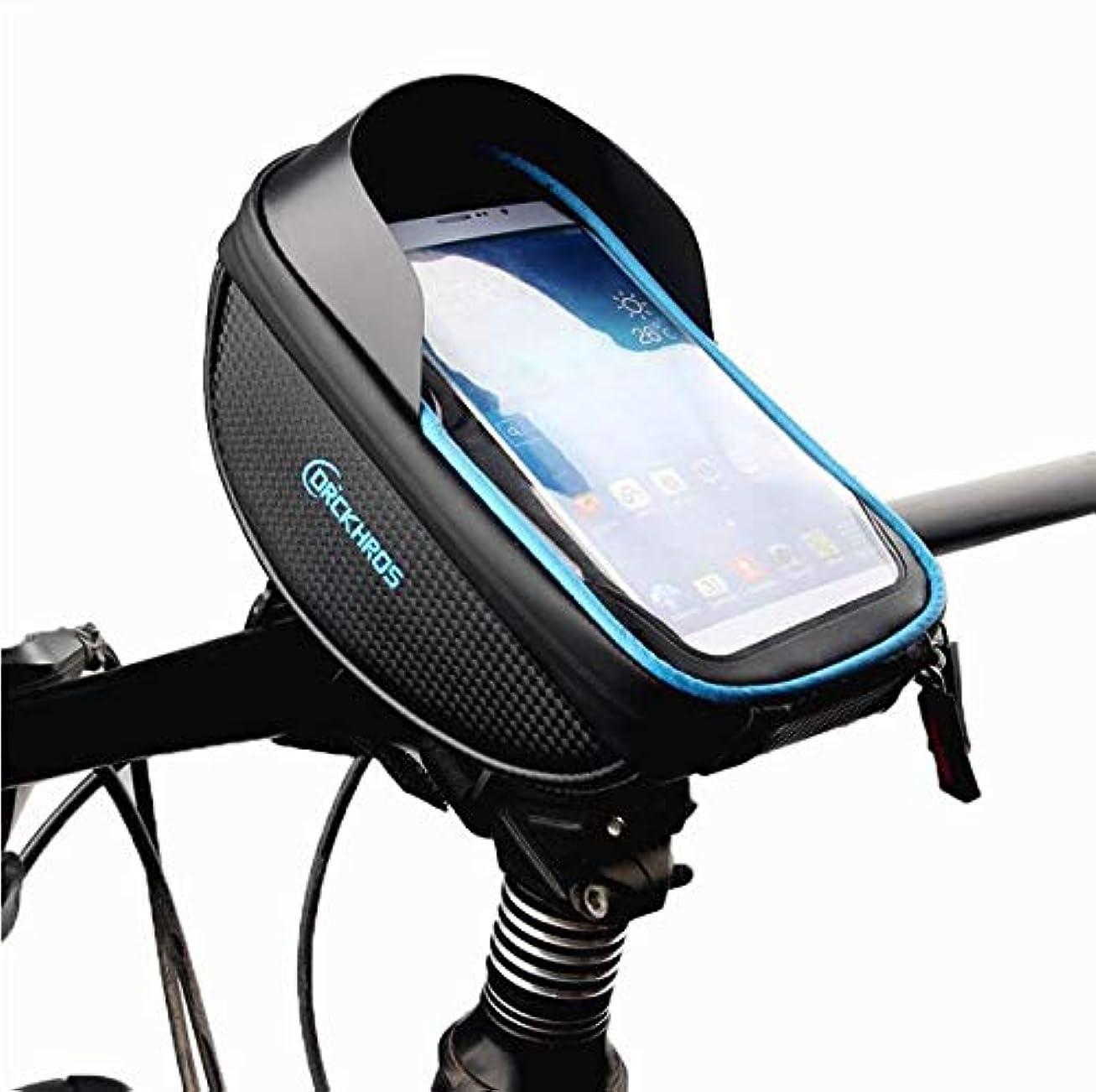 ピアノを弾く副詞パシフィック自転車バッグタッチスクリーンマウンテンバイクフロントビームバッグサイクリングバッグハンドルバーバッグ防水ジッパーバッグ用携帯電話6.0インチ以内, Black