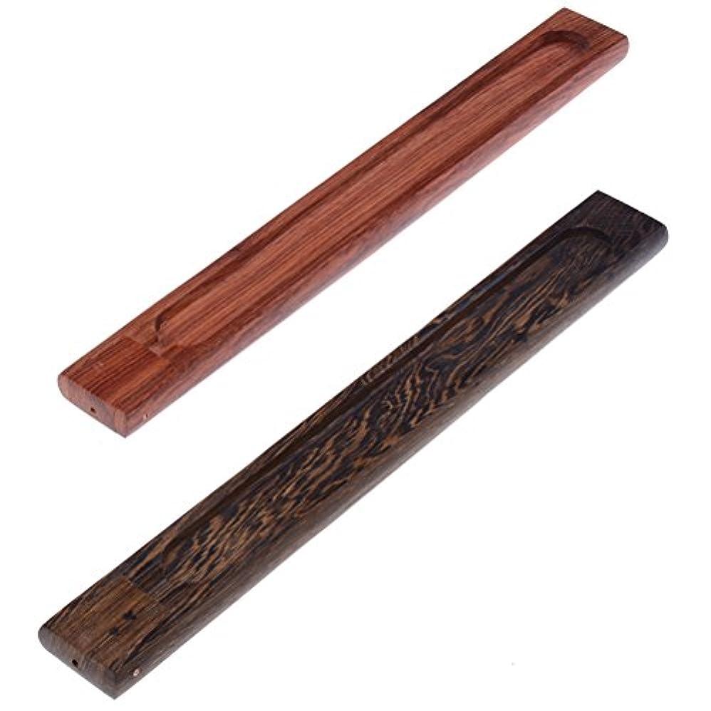 テーマ青写真音節yiphates 2ピース木製香炉スティックホルダーAshキャッチャー木製トレイwith Adjustable Incense Stick Holder