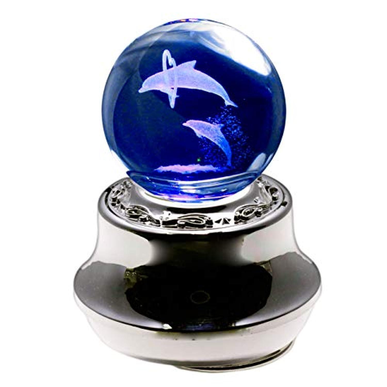 ラッピング済み 曲目:星に願いを 光って回るオルゴール LEDライト内蔵 3Dレーザークリスタル ペアイルカ
