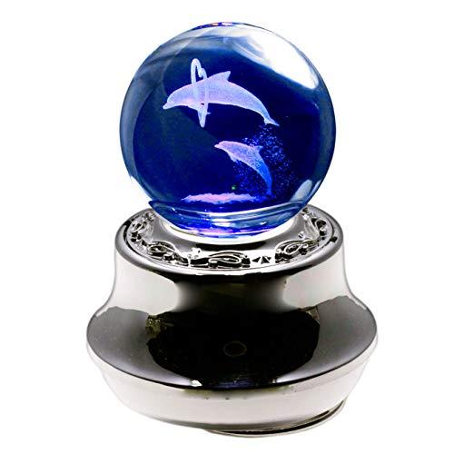 ラッピング済み 光るオルゴール 3Dレーザークリスタル ペアイルカ 曲目:星に願いを 誕生日プレゼント 女性 人気 プレゼント ギフト 母 女の子 サンキョー製