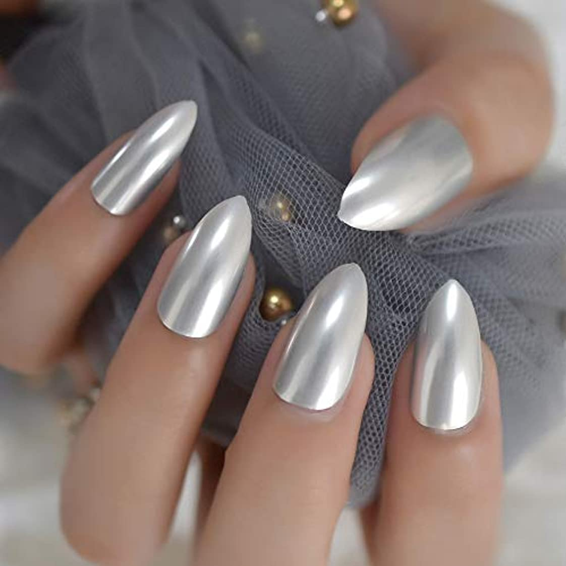 パラシュート銀パッチXUTXZKA ミラーネイルシルバーメタリック人工爪毎日着用