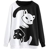 Hanaturu おもしろ トレーナー レディース プルオーバー 白と黒猫 猫柄 可愛い 配色 秋 冬 長袖トップス 人気 プレゼント S M L XL 2XL