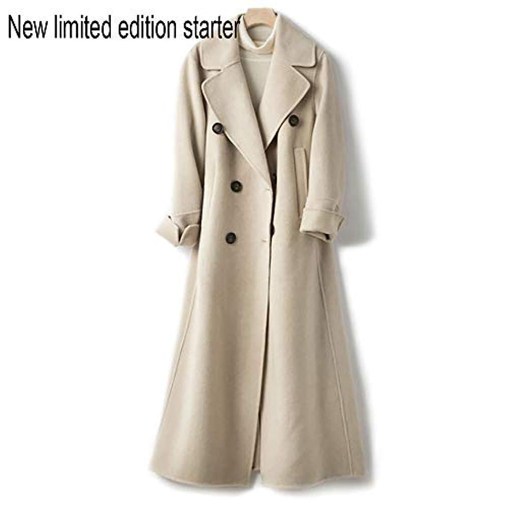 ステートメント接続ヒールウールコート、ウエストの両面ウールコートと長い女性服19秋と冬の新しいウールコート女性の長いブレザーコート,C,S
