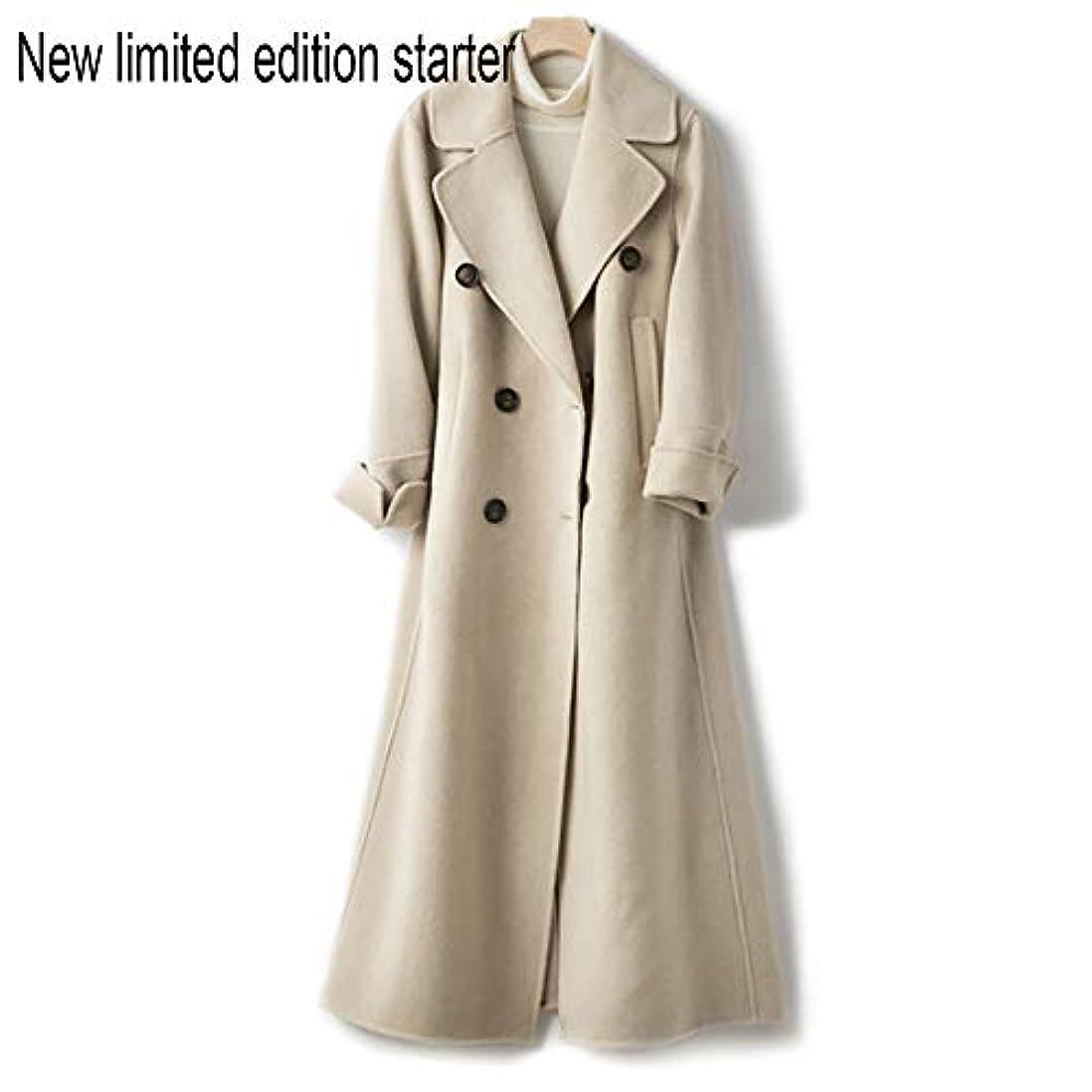 路地服を片付ける混合したウールコート、ウエストの両面ウールコートと長い女性服19秋と冬の新しいウールコート女性の長いブレザーコート,C,S