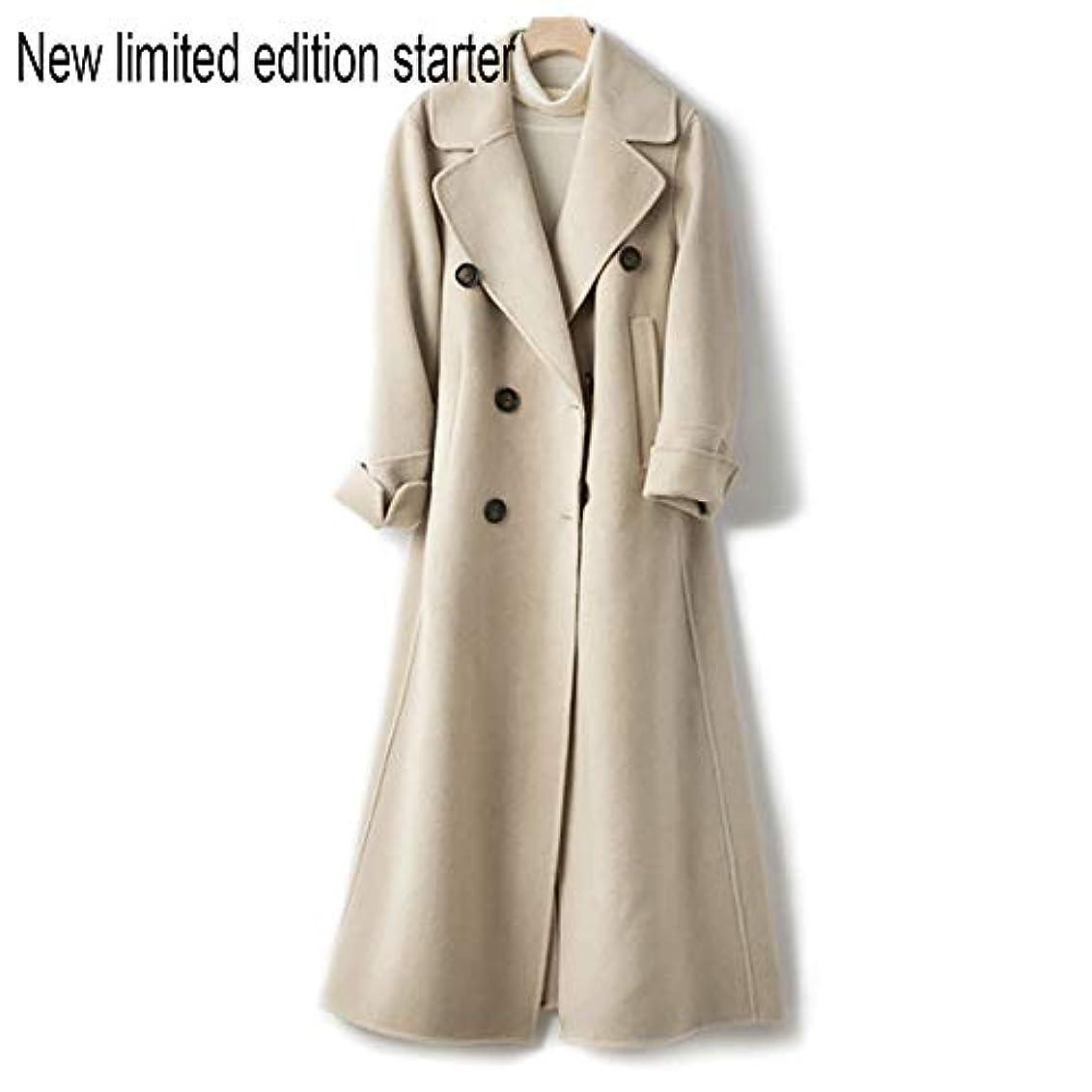 せがむグラフィック感動するウールコート、ウエストの両面ウールコートと長い女性服19秋と冬の新しいウールコート女性の長いブレザーコート,C,S
