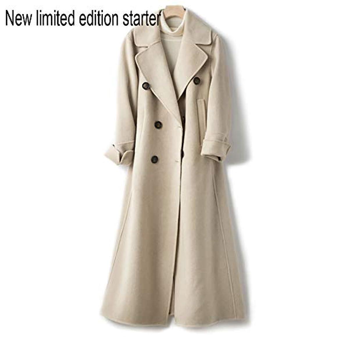 宣伝詐欺踏みつけウールコート、ウエストの両面ウールコートと長い女性服19秋と冬の新しいウールコート女性の長いブレザーコート,C,S