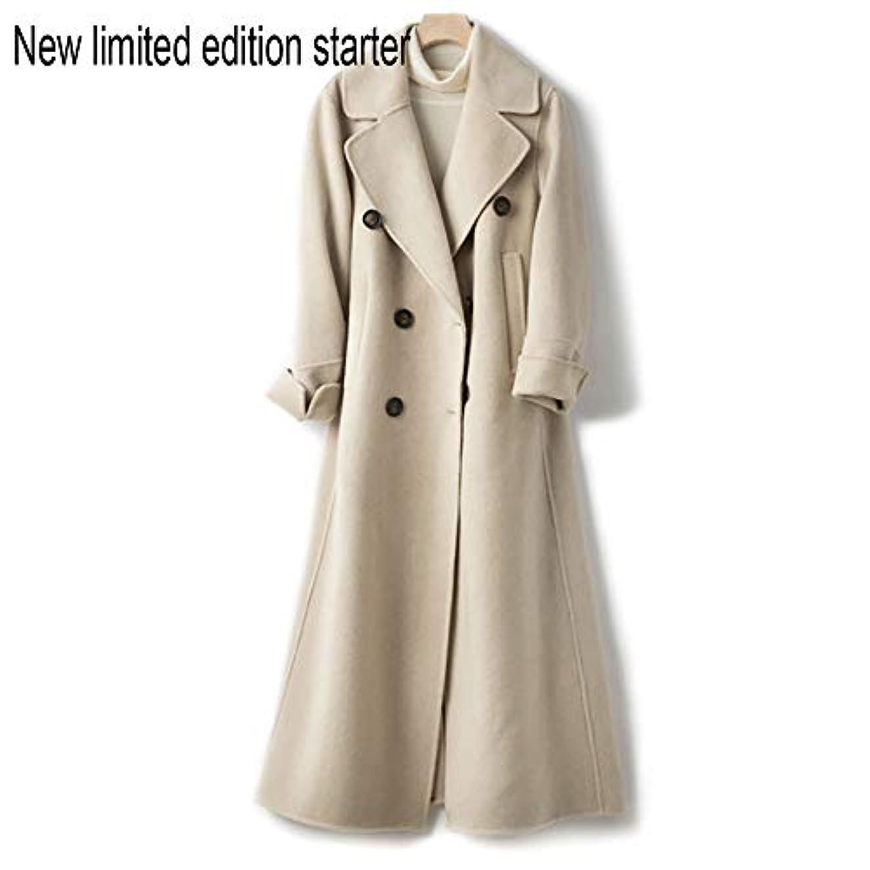 デジタル貼り直す一晩ウールコート、ウエストの両面ウールコートと長い女性服19秋と冬の新しいウールコート女性の長いブレザーコート,C,S